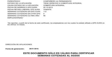 obtener la afiliacion de los Certificados Sura